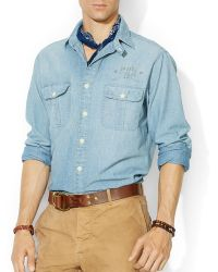 Ralph Lauren Polo Chambray Flag Workshirt - Regular Fit - Lyst