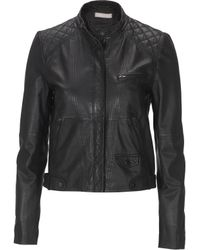 Stefanel Washed Leather Biker Jacket - Lyst