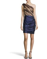 Halston Heritage Ruched One-Shoulder Two-Tone Dress - Lyst