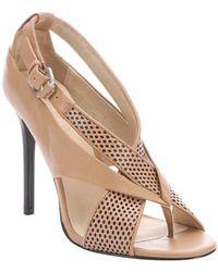 L.A.M.B. Dark Camel Perforated Leather 'Beverlee' Stiletto Sandals beige - Lyst