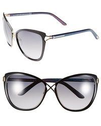 Tom Ford - 'celia' 59mm Cat Eye Sunglasses - Shiny Black - Lyst