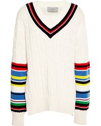 Preen Knitted Cotton Blythe Jumper in Ivory and Multi - Lyst