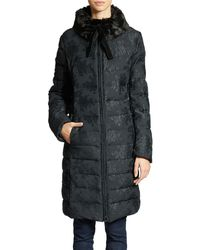 Vera Wang Quilted Floral Embroidered Faux Fur Trim Coat - Lyst