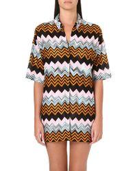 Missoni Knitted Geometricpatterned Shirt Black - Lyst