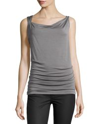 Donna Karan New York Draped Twisted-Strap Jersey Top - Lyst