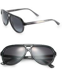 Gucci Studded 59mm Aviator Sunglasses - Lyst