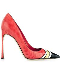 Sergio Rossi Eve Striped Snakeskin Pumps - Lyst