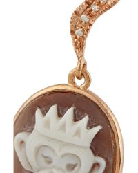 Amedeo - Rose Gold-Plated, Sardonyx Shell And Diamond Monkey Cameo Earrings - Lyst