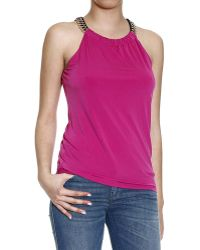 MICHAEL Michael Kors Top Sleeveless Jersey With Chain - Lyst