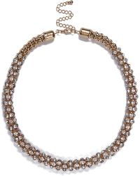 River Island Gold Tone Diamante Short Rope Necklace - Lyst