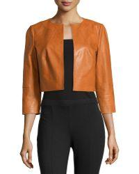 Lafayette 148 New York 3/4-Sleeve Cropped Lambskin Jacket orange - Lyst