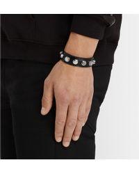 Saint Laurent Studded Leather Buckle Bracelet - Lyst
