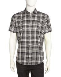 John Varvatos Shortsleeve Plaid Poplin Shirt - Lyst