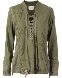 Greg Lauren Lace-Up Distressed Shirt - Lyst