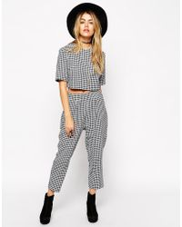 Asos Reclaimed Vintage Co-Ord Pants In Textured Gingham - Lyst