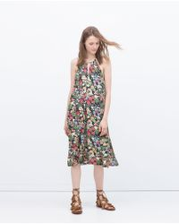 Zara Printed Dress multicolor - Lyst