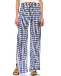 Twelfth Street Cynthia Vincent Wide Leg Slit Pants - Mini Shibori Print - Lyst