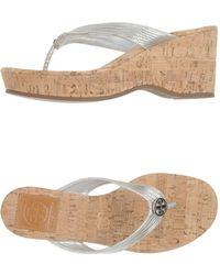Tory Burch Silver Thong Sandal - Lyst