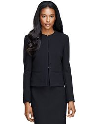 Brooks Brothers Wool Crepe Cropped Jacket - Lyst