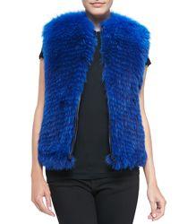 Prabal Gurung Bright Fox Fur Zip Vest - Lyst