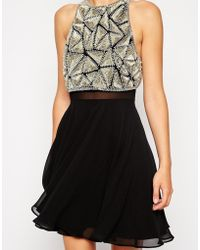 Asos Embellished Crop Top Skater Dress - Lyst