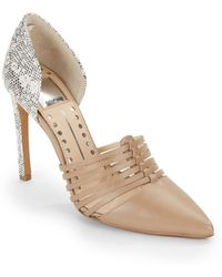 Dolce Vita Strappy Embossed & Smooth Leather D'Orsay Pumps - Lyst