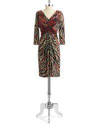 Anne Klein Wrap Front Patterned Dress - Lyst