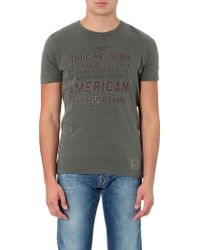 True Religion American Crewneck Cottonjersey Tshirt Dusty Olive - Lyst