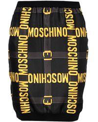Moschino Logo Plaque Pencil Skirt black - Lyst