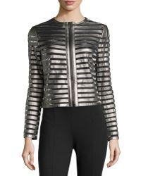 Catherine Catherine Malandrino Metallic Faux-leather Stripe Jacket - Lyst