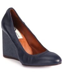 Lanvin | Leather Ballerina Wedge Pumps | Lyst