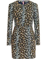 House of Holland Leopard-Print Velvet Mini Dress - Lyst