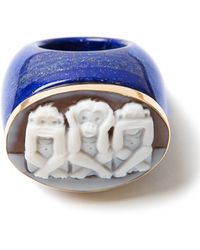 Amedeo Three Monkeys Lapis Ring - Lyst