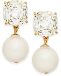 Kate Spade New York Gold-tone Glass Stone and Faux Pearl Drop Earrings - Lyst