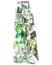 Roberto Cavalli St Barth-print Tiered Full Skirt - Lyst