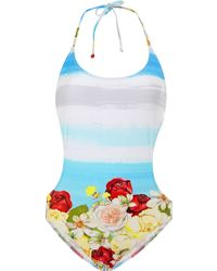 Isolda Printed Cut-out Swimsuit - Lyst