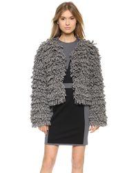 Viktor & Rolf Alpaca Boucle Coat Grey - Lyst