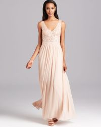 Aidan Mattox - Gown Double V Sequin with Chiffon Pleated Skirt - Lyst