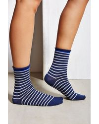 Urban Outfitters Striped Roll Cuff Ankle Sock - Lyst