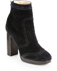 Christopher Kane Suede Wingtip Platform Ankle Boots - Lyst