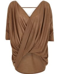 River Island Brown 3/4 Sleeve Drape Front Top - Lyst