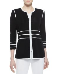 Misook 3/4-Sleeve Zip Jacket With Piping - Lyst