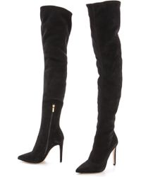 Sergio Rossi Suede Over The Knee Boots Black - Lyst