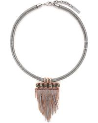 Vince Camuto - Rhodium And Rose Gold Plated Pendant Necklace - Lyst