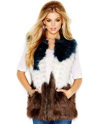 Guess Faux-fur Colorblocked Vest - Lyst