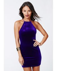 Missguided Masumi Velvet Strappy Bodycon Dress Cobalt - Lyst