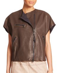 Brunello Cucinelli Leather Moto Top - Lyst