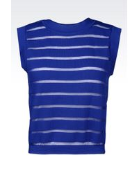 Emporio Armani Striped Knit Top - Lyst