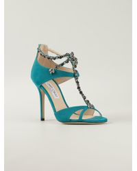 Jimmy Choo Teal Faiza Sandals - Lyst