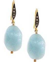 Margo Morrison - Aquamarine & White Sapphire Drop Earrings - Lyst